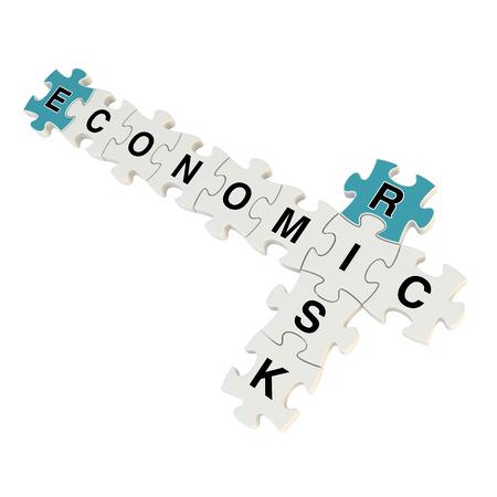 Economic risk 3d puzzle on white background