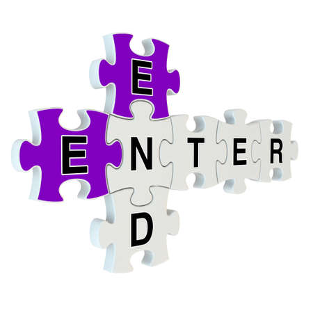 End enter 3d puzzle on white background