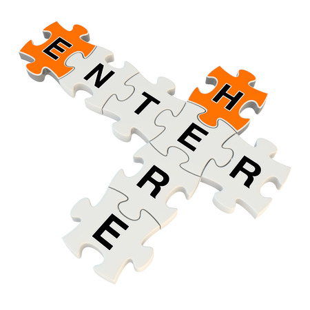 Enter here 3d puzzle on white background Stock Photo