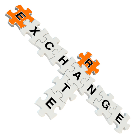 Exchange rate 3d puzzle on white background photo