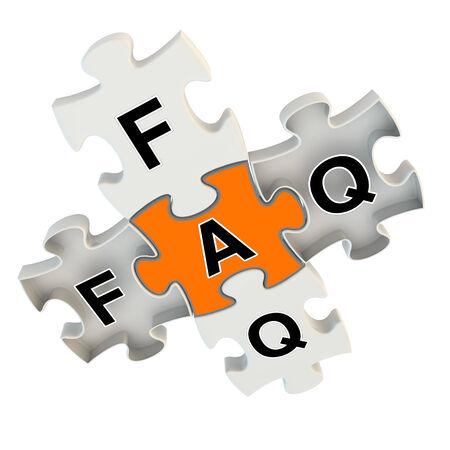 onbeantwoorde: Faq 3d puzzel op witte achtergrond
