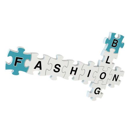 Fashion blog 3d puzzle on white background photo