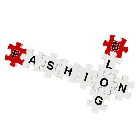 Fashion blog 3d puzzle on white background