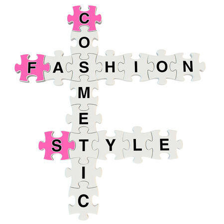 Fashion style 3d puzzle on white background photo