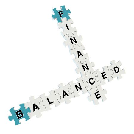 inconstant: Finance balanced 3d puzzle on white background