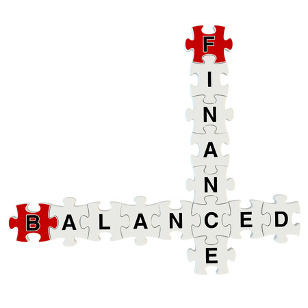 Finance balanced 3d puzzle on white background photo