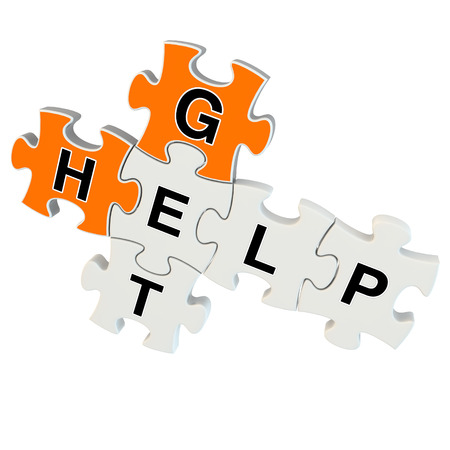 Get help 3d puzzle on white background photo