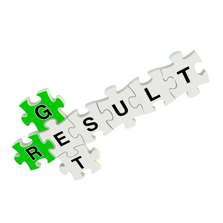 strategizing: Get result 3d puzzle on white background Stock Photo