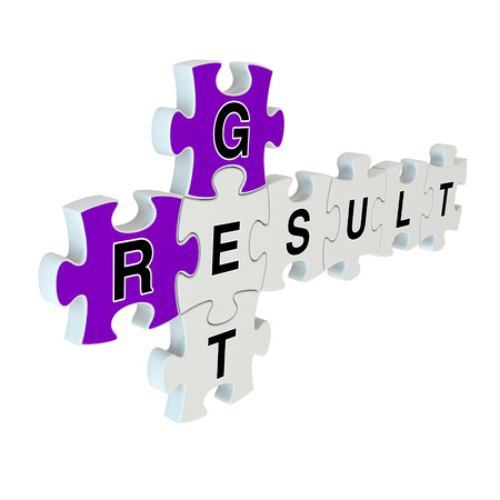Get result 3d puzzle on white background photo
