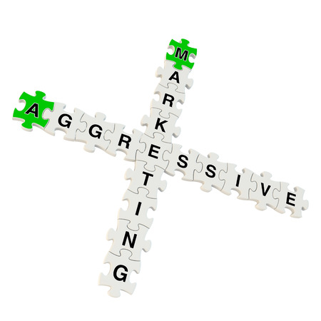 agressive: Agressive Marketing 3d puzzle on white background