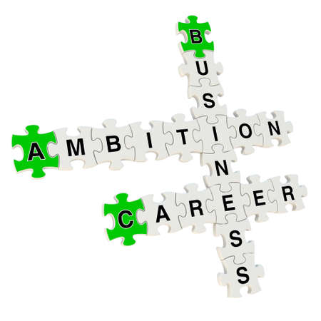 Business ambition 3d puzzle on white background