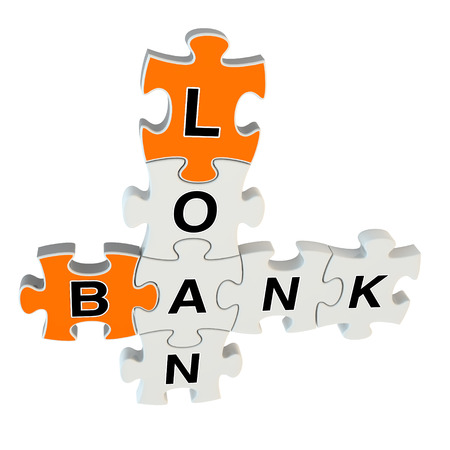 Bank loan 3d puzzle on white background photo