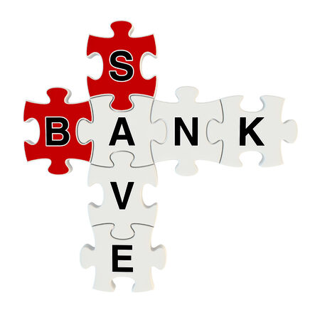 Bank save 3d puzzle on white background photo
