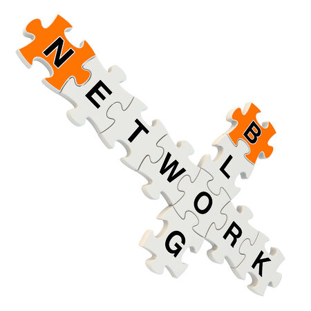 Network blog 3d puzzle on white background photo