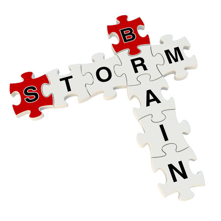 Brain storm 3d puzzle on white background photo