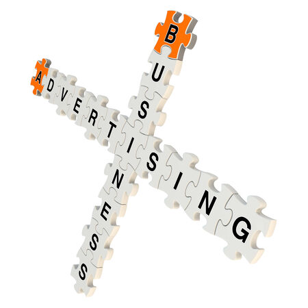 popularity: Business advertising 3d puzzle on white background