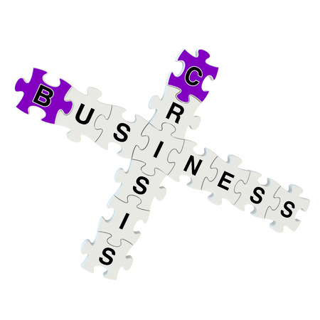 inconstant: Business crisis 3d puzzle on white background Stock Photo