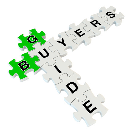 mortgaging: Buyers guide 3d puzzle on white background Stock Photo
