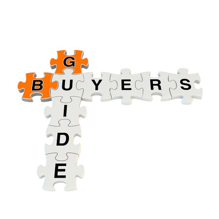 Buyers guide 3d puzzle on white background photo