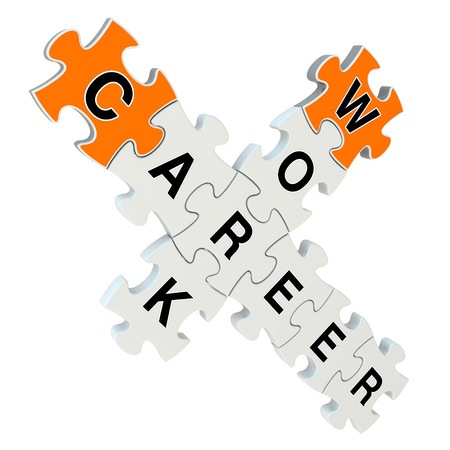 Work career 3d puzzle on white background photo