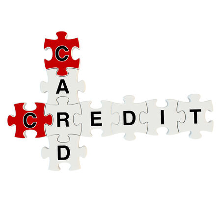 Credit card 3d puzzle on white background photo