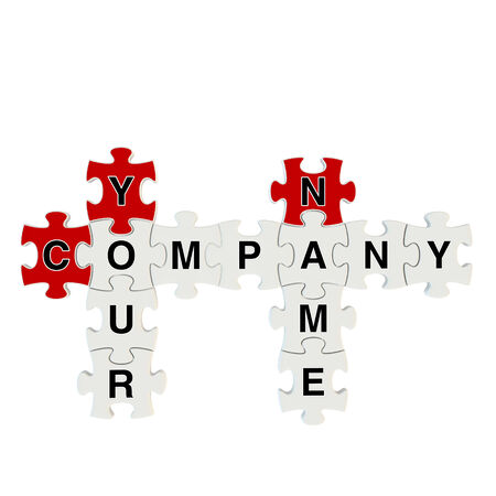 Company name 3d puzzle on white background