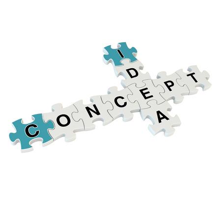 Concept idea 3d puzzle on white background