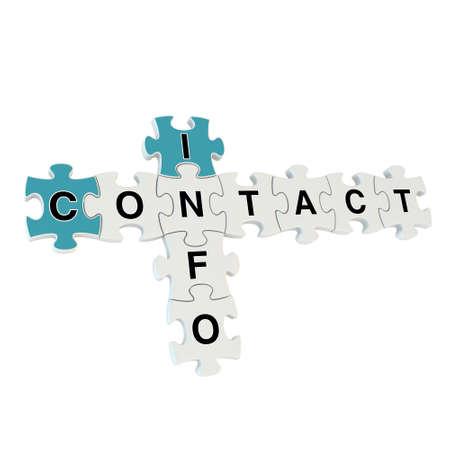 contact info: Contattaci 3d puzzle su sfondo bianco