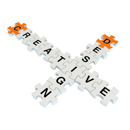 afflatus: Creative design 3d puzzle on white background