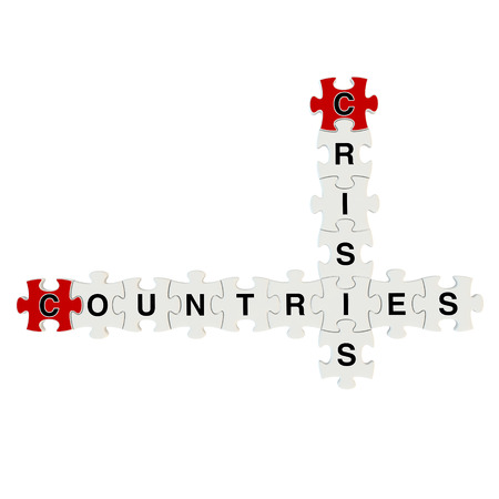 Crisis countries 3d puzzle on white background