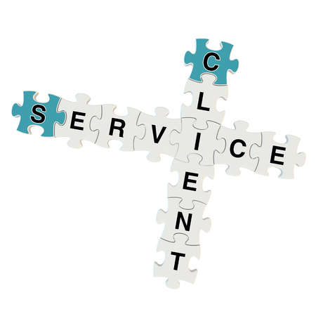 Client service 3d puzzle on white background