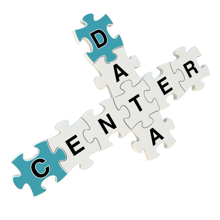 Data center 3d puzzle on white background