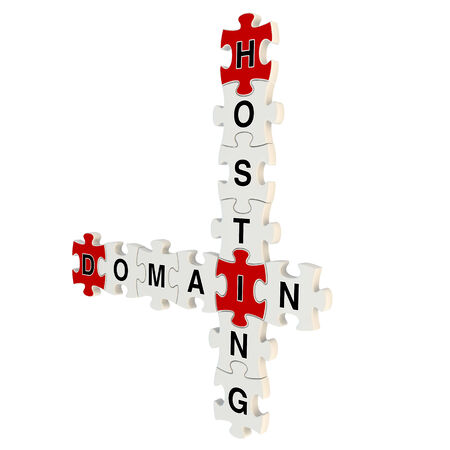 Domain hosting 3d puzzle on white background Stock Photo
