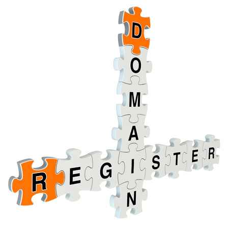 Domain register 3d puzzle on white background photo