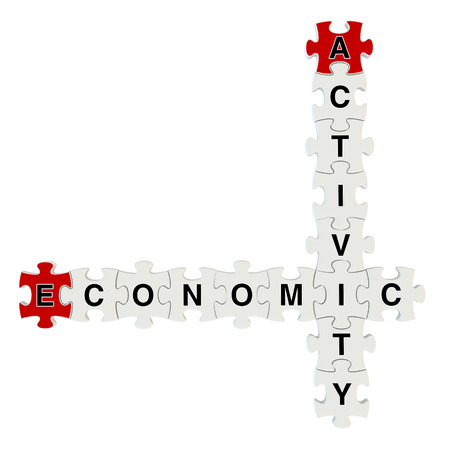 economic activity: Economic activity 3d puzzle on white background Stock Photo