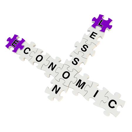 Economic lesson 3d puzzle on white background