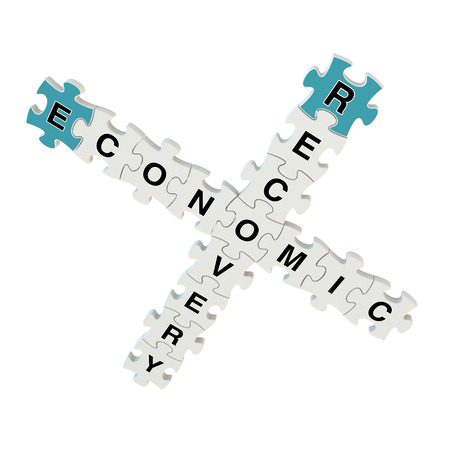 Economic recovery 3d puzzle on white background Stock Photo