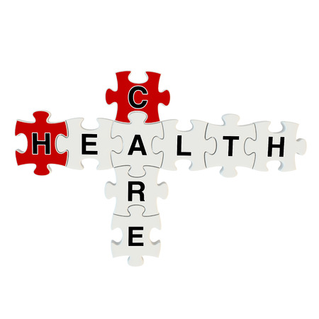 medical preparation: Healthcare 3d puzzle on white background Stock Photo