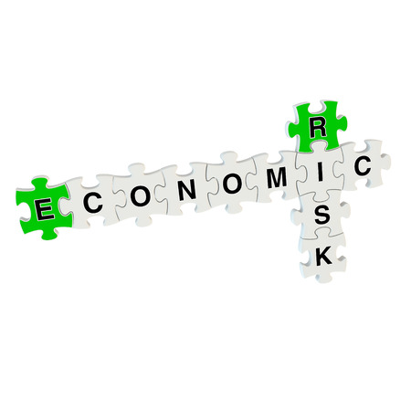 overvalued: Economic risk 3d puzzle on white background