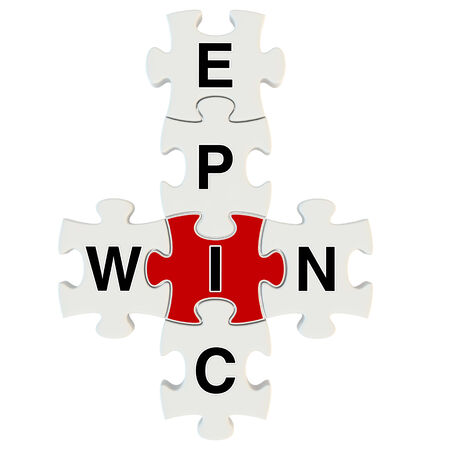 Epic win 3d puzzle on white background
