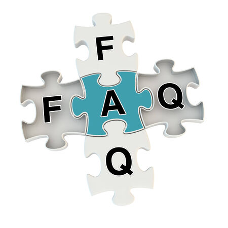 Faq 3d puzzle on white background