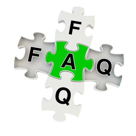 onbeantwoorde: Faq 3D puzzel op een witte achtergrond Stockfoto