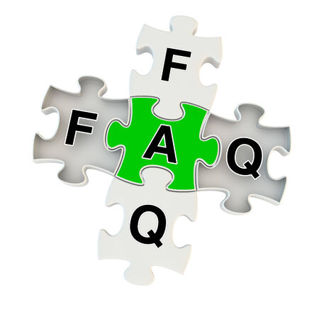 unanswered: Faq 3d puzzle on white background