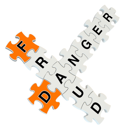 Fraud danger 3d puzzle on white background