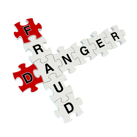 thieving: Fraud danger 3d puzzle on white background