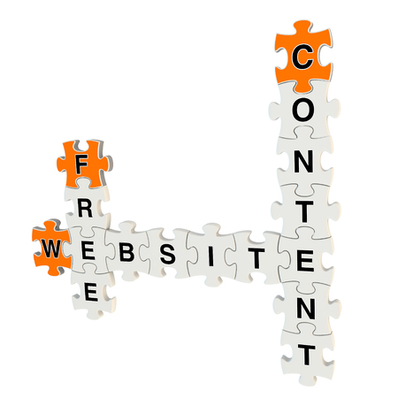 Free website content 3d puzzle on white background Stock Photo