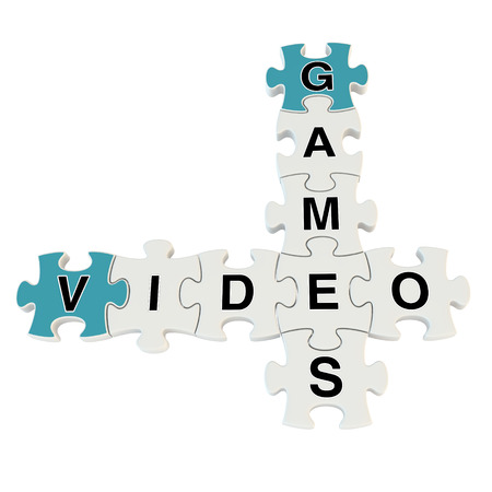 Video games content 3d puzzle on white background Stock Photo