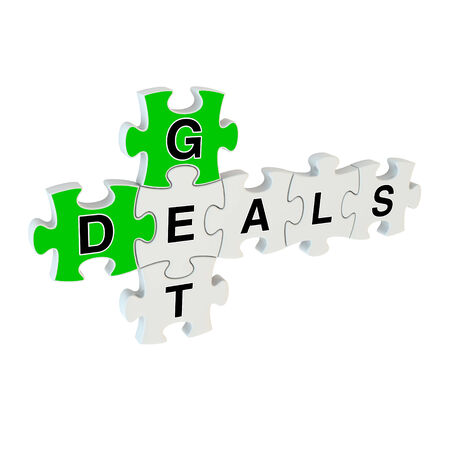 Get deals 3d puzzle on white background Stock Photo