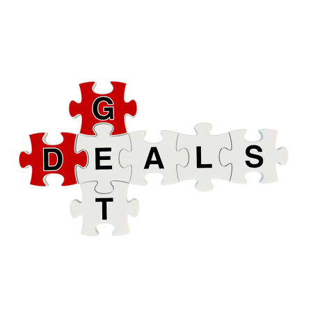 cost estimate: Get deals 3d puzzle on white background Stock Photo