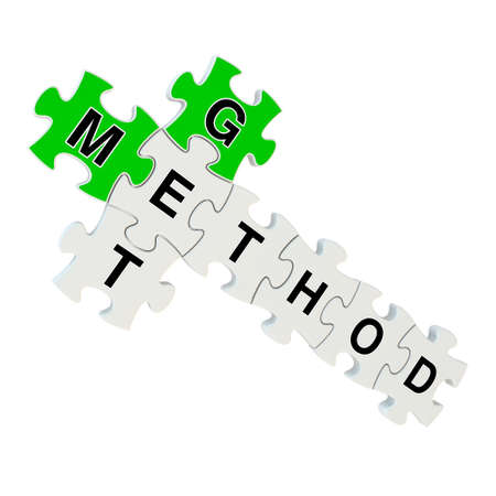 Get method 3d puzzle on white background photo